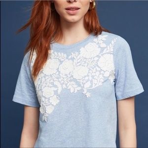 Anthropologie Blanche Appliqué Embroidered Tee-XS